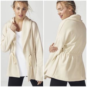 FABLETICS Cream Sage Coat Fleece Lined Cardigan Sm